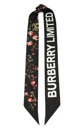 Мужские шелковый шарф BURBERRY черного цвета, арт. 8037526 | Фото 1