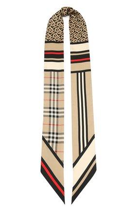 Мужские шелковый шарф BURBERRY бежевого цвета, арт. 8037017 | Фото 1