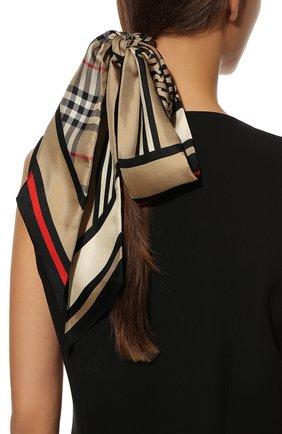 Мужские шелковый шарф BURBERRY бежевого цвета, арт. 8037017 | Фото 2