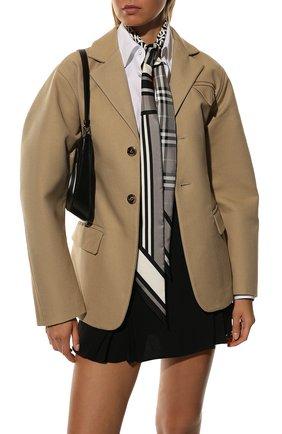 Мужские шелковый шарф BURBERRY серого цвета, арт. 8037016 | Фото 2