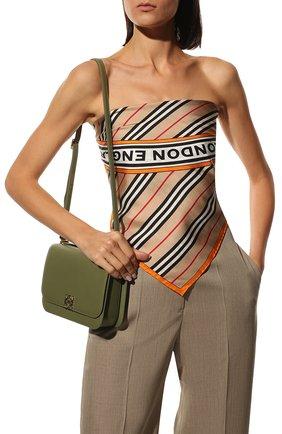 Женский шелковый платок BURBERRY бежевого цвета, арт. 8032458 | Фото 2