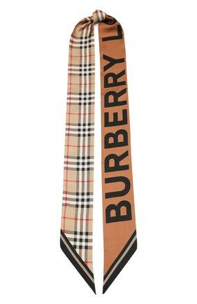 Мужские шелковый шарф BURBERRY бежевого цвета, арт. 8028950 | Фото 1