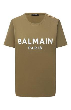 Женская хлопковая футболка BALMAIN хаки цвета, арт. VF11350/B012 | Фото 1