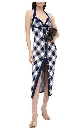 Женское платье из вискозы BALMAIN темно-синего цвета, арт. VF16544/K214 | Фото 2