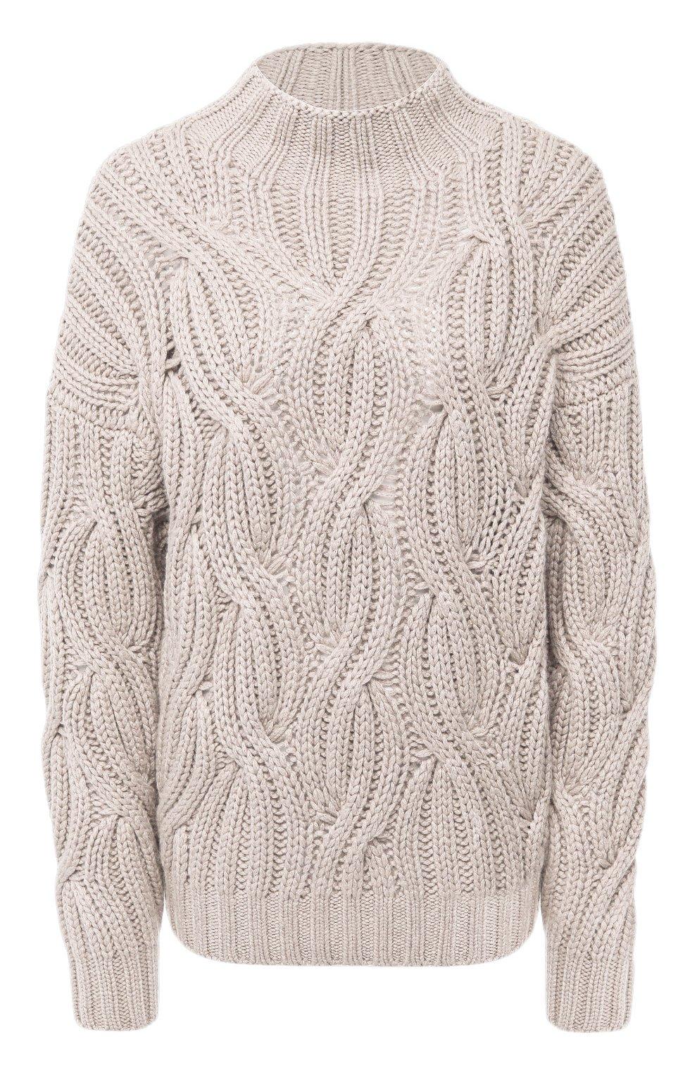 Женский кашемировый свитер BRUNELLO CUCINELLI светло-бежевого цвета, арт. M52362504 | Фото 1
