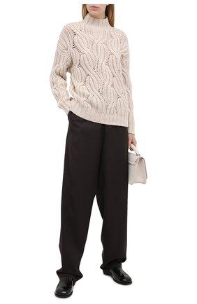 Женский кашемировый свитер BRUNELLO CUCINELLI светло-бежевого цвета, арт. M52362504 | Фото 2