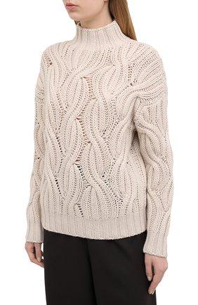 Женский кашемировый свитер BRUNELLO CUCINELLI светло-бежевого цвета, арт. M52362504 | Фото 3