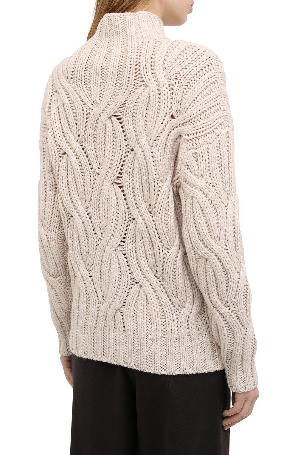 Женский кашемировый свитер BRUNELLO CUCINELLI светло-бежевого цвета, арт. M52362504 | Фото 4