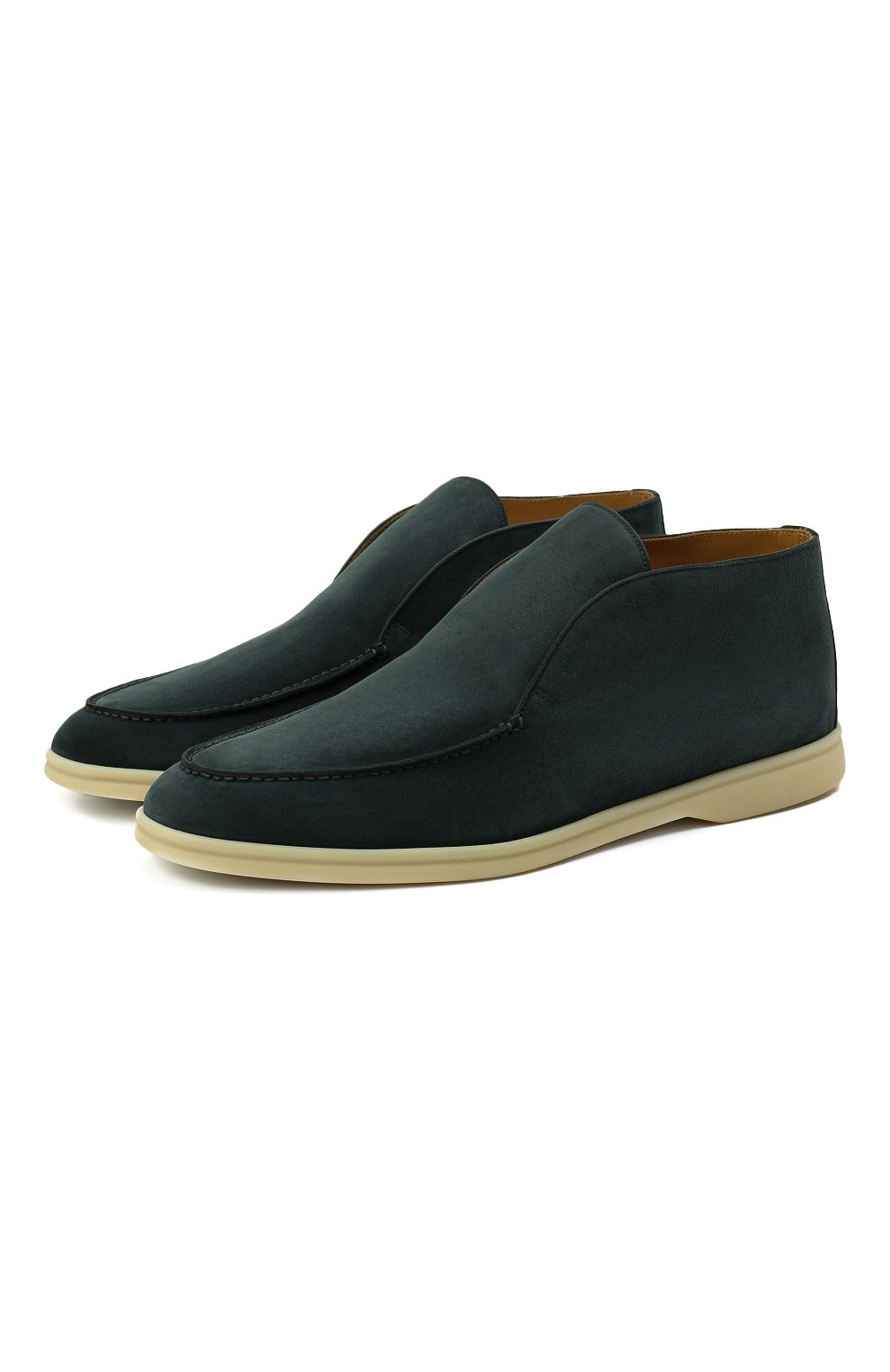 Мужские замшевые ботинки open walk LORO PIANA изумрудного цвета, арт. FAB4368 | Фото 1