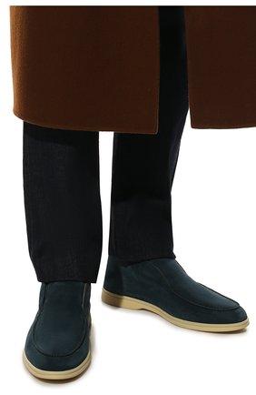 Мужские замшевые ботинки open walk LORO PIANA изумрудного цвета, арт. FAB4368 | Фото 3