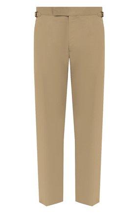Мужские брюки из хлопка и шелка TOM FORD бежевого цвета, арт. Q74R29/610043 | Фото 1 (Стили: Классический; Материал внешний: Хлопок, Шелк; Случай: Формальный; Материал подклада: Купро; Длина (брюки, джинсы): Стандартные)