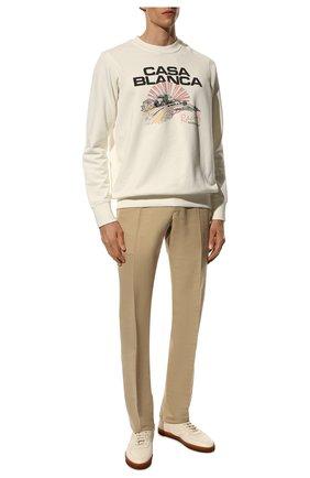 Мужские брюки из хлопка и шелка TOM FORD бежевого цвета, арт. Q74R29/610043 | Фото 2 (Стили: Классический; Материал внешний: Хлопок, Шелк; Случай: Формальный; Материал подклада: Купро; Длина (брюки, джинсы): Стандартные)