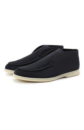 Мужские замшевые ботинки open walk LORO PIANA темно-синего цвета, арт. FAI9283 | Фото 1