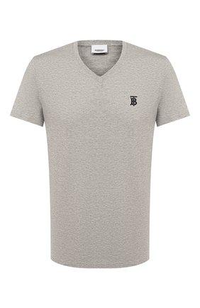 Мужская хлопковая футболка BURBERRY серого цвета, арт. 8017257 | Фото 1