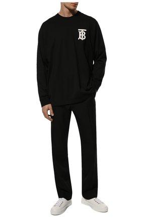 Мужская хлопковый лонгслив BURBERRY черного цвета, арт. 8024599 | Фото 2