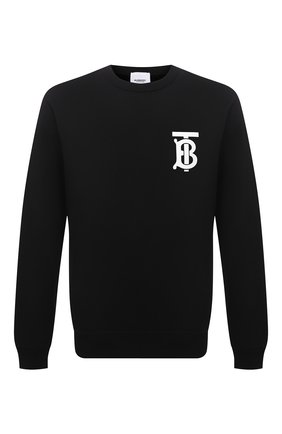 Мужской хлопковый свитшот BURBERRY черного цвета, арт. 8024602 | Фото 1