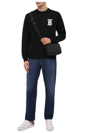 Мужской хлопковый свитшот BURBERRY черного цвета, арт. 8024602 | Фото 2