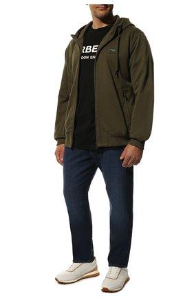 Мужская хлопковая футболка BURBERRY черного цвета, арт. 8026016 | Фото 2 (Мужское Кросс-КТ: Футболка-одежда; Рукава: Короткие; Материал внешний: Хлопок; Стили: Кэжуэл; Длина (для топов): Стандартные; Принт: С принтом)