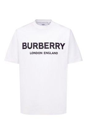 Мужская хлопковая футболка BURBERRY белого цвета, арт. 8026017 | Фото 1