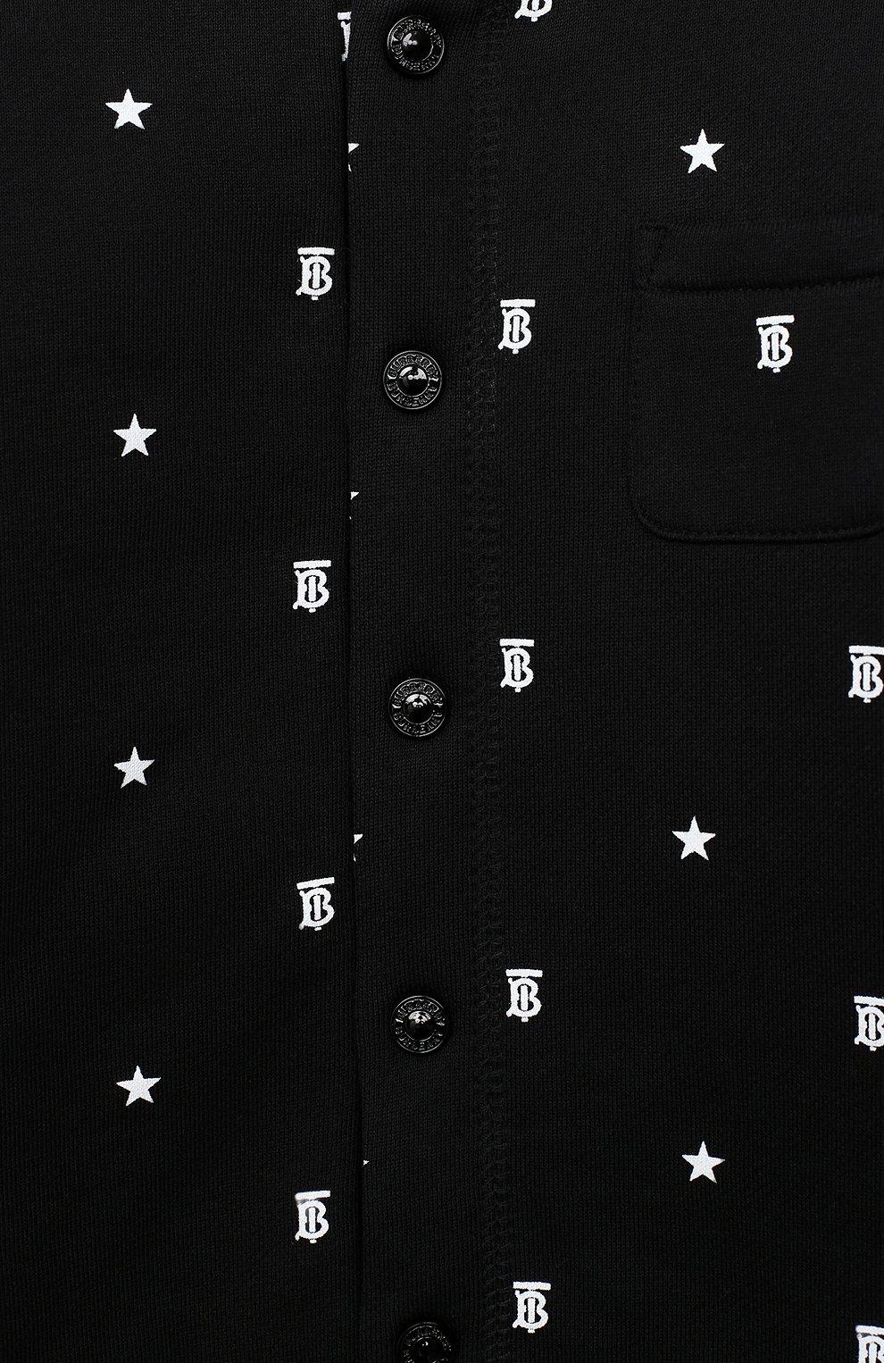 Детский хлопковый комбинезон BURBERRY черного цвета, арт. 8036525 | Фото 3