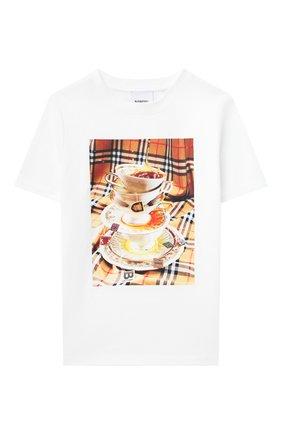Детская хлопковая футболка BURBERRY разноцветного цвета, арт. 8037614 | Фото 1
