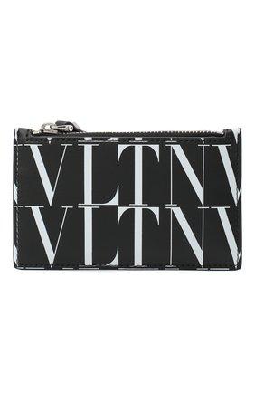 Мужской кожаный футляр для кредитных карт valentino garavani VALENTINO черно-белого цвета, арт. VY2P0540/GTC | Фото 1