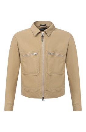 Мужская хлопковая куртка TOM FORD бежевого цвета, арт. BW028/TF0301 | Фото 1 (Материал внешний: Хлопок; Кросс-КТ: Ветровка, Куртка; Рукава: Длинные; Стили: Кэжуэл; Длина (верхняя одежда): Короткие)