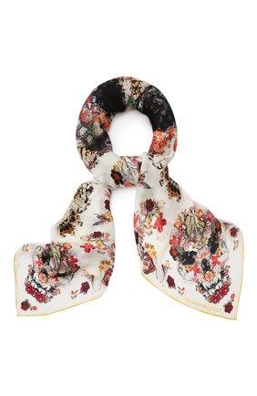 Женский шелковый платок ALEXANDER MCQUEEN светло-бежевого цвета, арт. 639612/3011Q | Фото 1