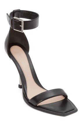 Женские кожаные босоножки ALEXANDER MCQUEEN черного цвета, арт. 651712/WHWQ1   Фото 2