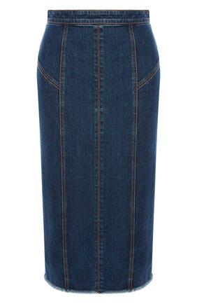 Женская джинсовая юбка ALEXANDER MCQUEEN синего цвета, арт. 650661/QMAA8 | Фото 1