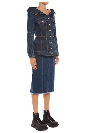 Женская джинсовая юбка ALEXANDER MCQUEEN синего цвета, арт. 650661/QMAA8 | Фото 2