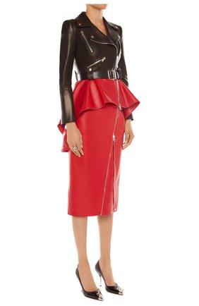 Женская кожаная куртка ALEXANDER MCQUEEN черного цвета, арт. 650210/Q5AFQ | Фото 2