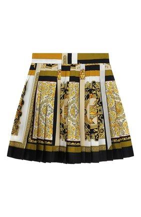 Женская шелковая юбка VERSACE золотого цвета, арт. A79448/1F00385 | Фото 2