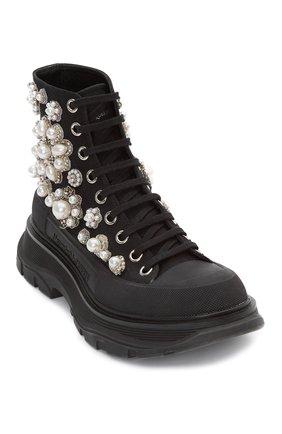 Женские текстильные ботинки ALEXANDER MCQUEEN черного цвета, арт. 652246/W4L3I | Фото 2