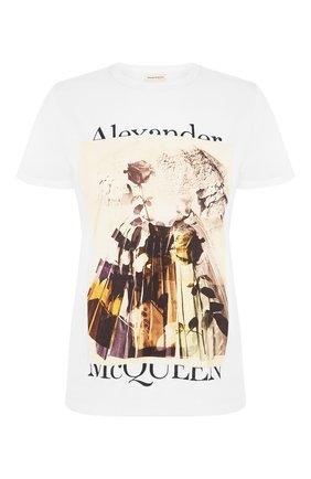 Женская хлопковая футболка ALEXANDER MCQUEEN разноцветного цвета, арт. 651390/QZACL | Фото 1