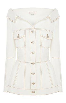 Женский джинсовый жакет ALEXANDER MCQUEEN белого цвета, арт. 650660/QMAA9 | Фото 1