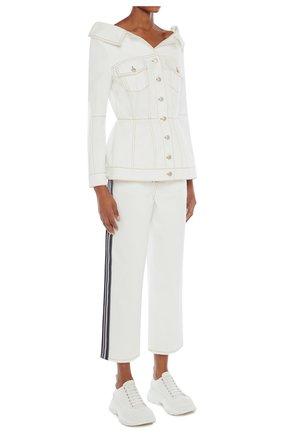 Женский джинсовый жакет ALEXANDER MCQUEEN белого цвета, арт. 650660/QMAA9 | Фото 2