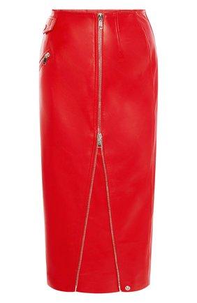 Женская кожаная юбка ALEXANDER MCQUEEN красного цвета, арт. 650219/Q5AB5 | Фото 1