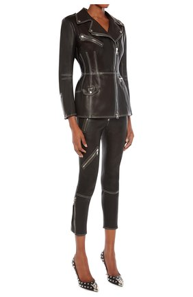 Женские кожаные брюки ALEXANDER MCQUEEN черного цвета, арт. 650220/Q5AFK | Фото 2