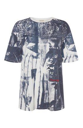 Женская футболка ALEXANDER MCQUEEN темно-синего цвета, арт. 651868/QZACO | Фото 1