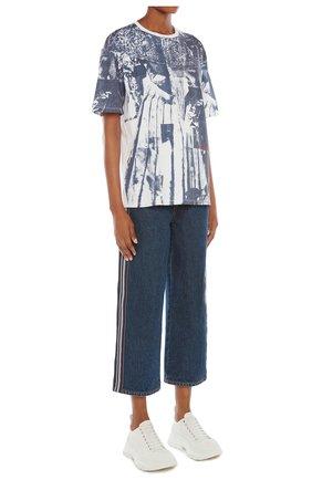 Женская футболка ALEXANDER MCQUEEN темно-синего цвета, арт. 651868/QZACO | Фото 2