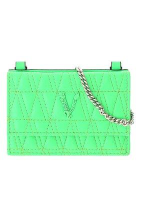 Женский кожаный футляр для кредитных карт VERSACE зеленого цвета, арт. DP3H977V/DNAPLT   Фото 1