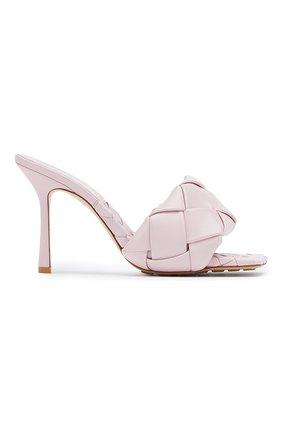 Женские кожаные мюли BOTTEGA VENETA светло-розового цвета, арт. 608854/VBSS0   Фото 1
