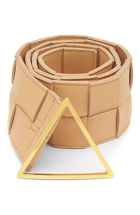 Женский кожаный ремень BOTTEGA VENETA бежевого цвета, арт. 651252/VMAY2   Фото 1