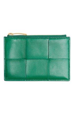 Женский кожаный футляр для кредитных карт BOTTEGA VENETA зеленого цвета, арт. 651393/VCQC4 | Фото 1