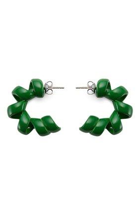 Женские серьги BOTTEGA VENETA зеленого цвета, арт. 649312/V5081   Фото 1