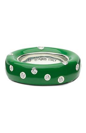 Женское кольцо BOTTEGA VENETA зеленого цвета, арт. 649527/VBOB8   Фото 1