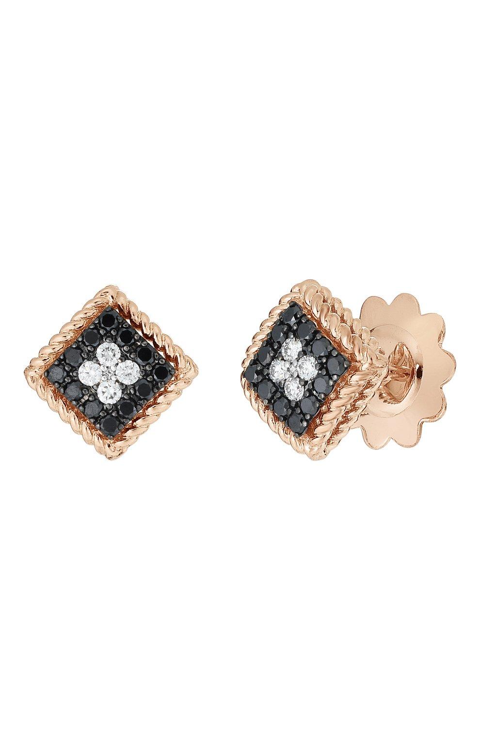 Женские серьги ROBERTO COIN бесцветного цвета, арт. ADR777EA2828   Фото 1 (Драгоценные камни: Бриллианты; Материал сплава: Розовое золото)