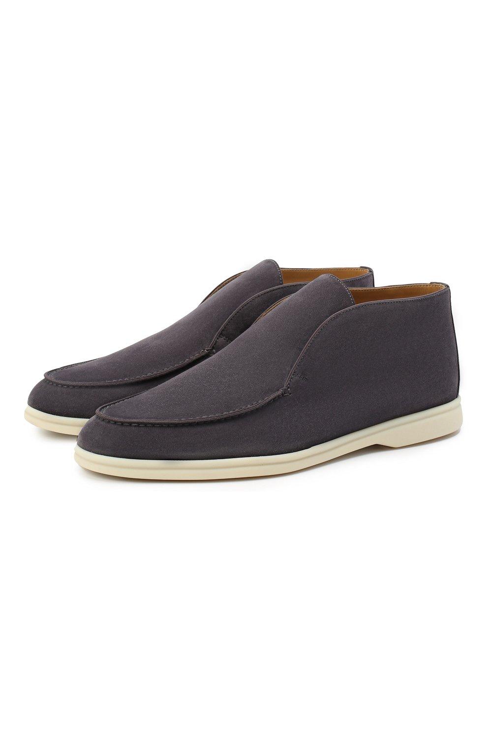 Мужские замшевые ботинки open walk LORO PIANA серого цвета, арт. FAB4368 | Фото 1 (Мужское Кросс-КТ: Ботинки-обувь; Материал внутренний: Натуральная кожа; Подошва: Плоская; Материал внешний: Замша)