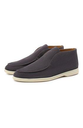 Мужские замшевые ботинки open walk LORO PIANA серого цвета, арт. FAB4368 | Фото 1 (Мужское Кросс-КТ: Ботинки-обувь; Подошва: Плоская; Материал внутренний: Натуральная кожа; Материал внешний: Замша)